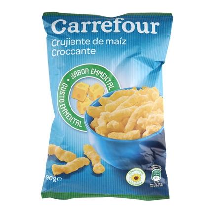 Aperitivo de maíz crujiente sabor queso Carrefour 90 g.