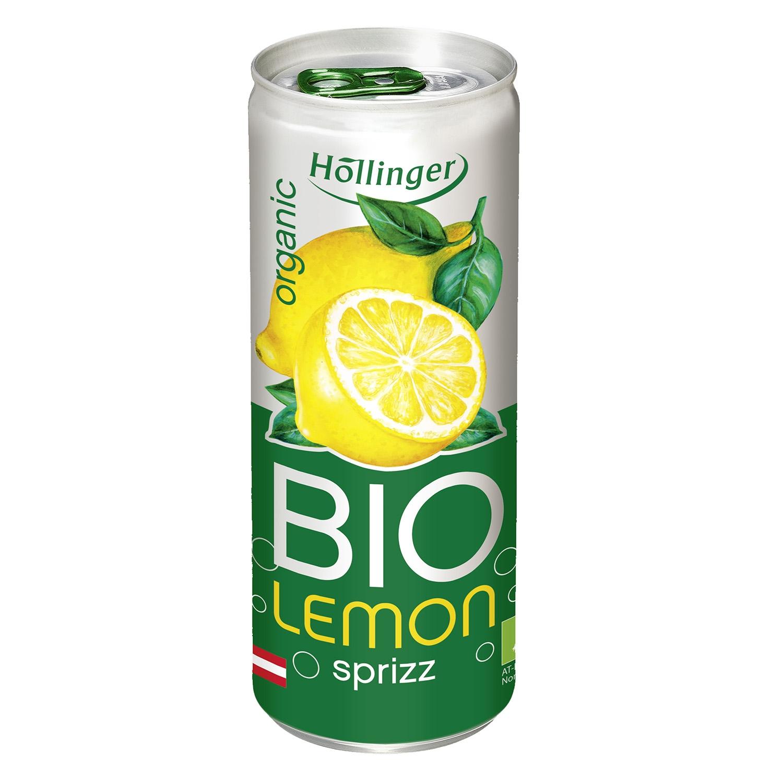 Refresco de limón ecológico Hollinger con gas lata 25 cl.