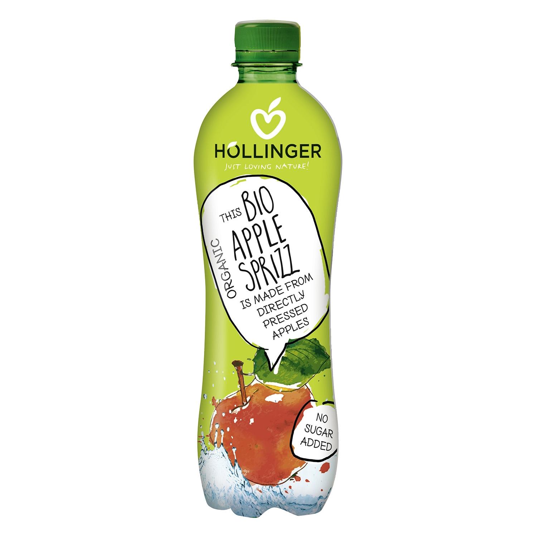 Refresco de manzana ecológico Hollinger con gas botella 50 cl.