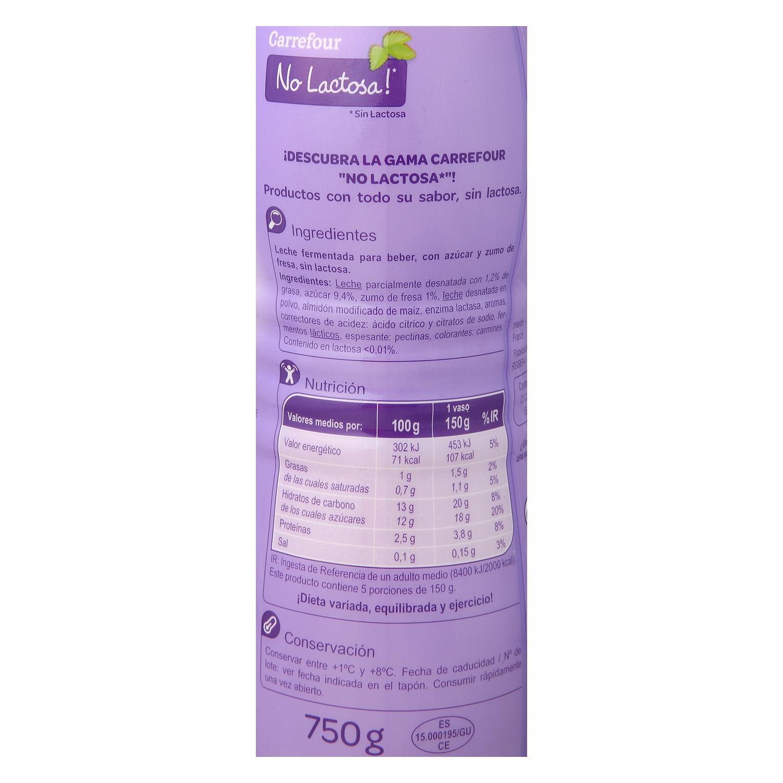 Yogur líquido con zumo de fresa Carrefour No Lactosa 750 g. -