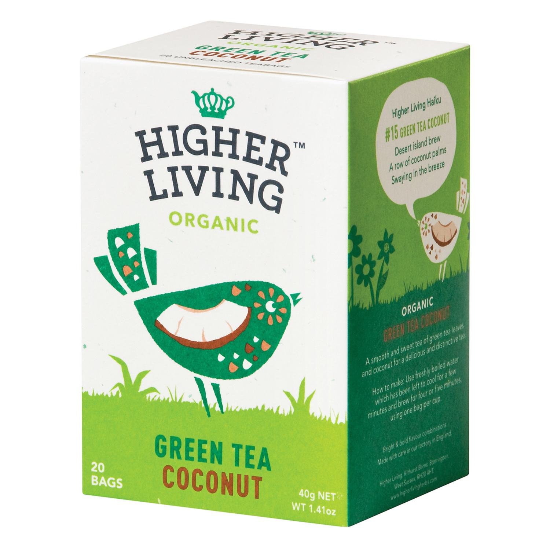 Té verde con coco en bolsitas ecológico Higher Living 20 ud.