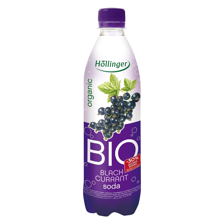 Refresco de grosella ecológico Hollinger con gas botella 50 cl.