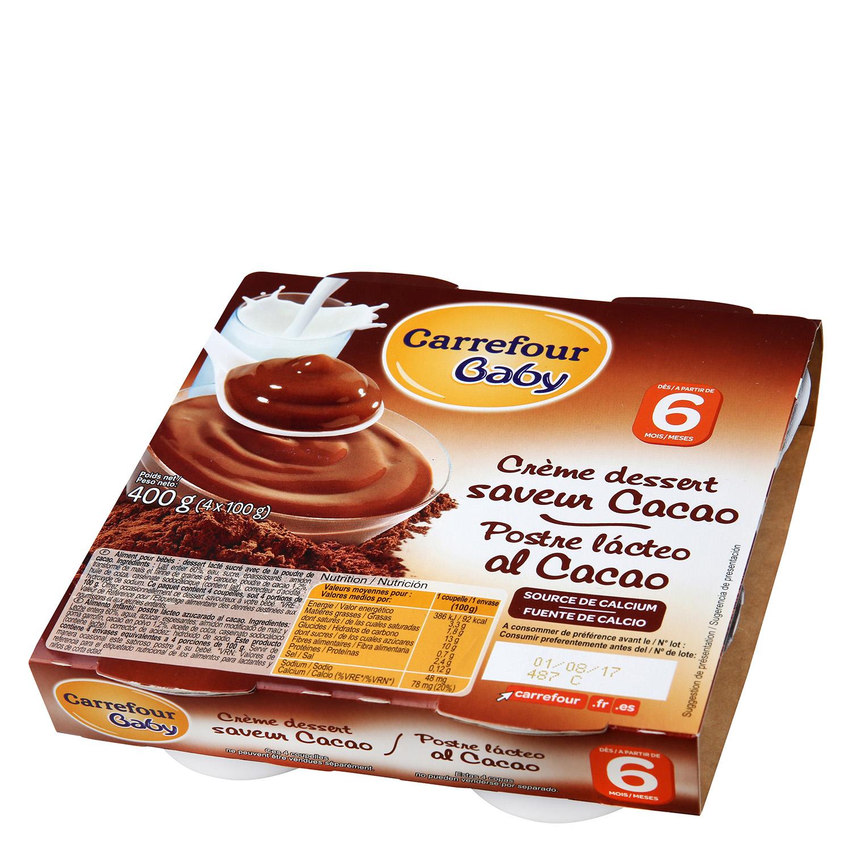 Postre lácteo al cacao Carrefour Baby pack de 4 unidades de 100 g.