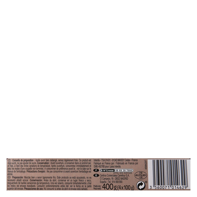 Postre lácteo al cacao Carrefour Baby pack de 4 unidades de 100 g. -