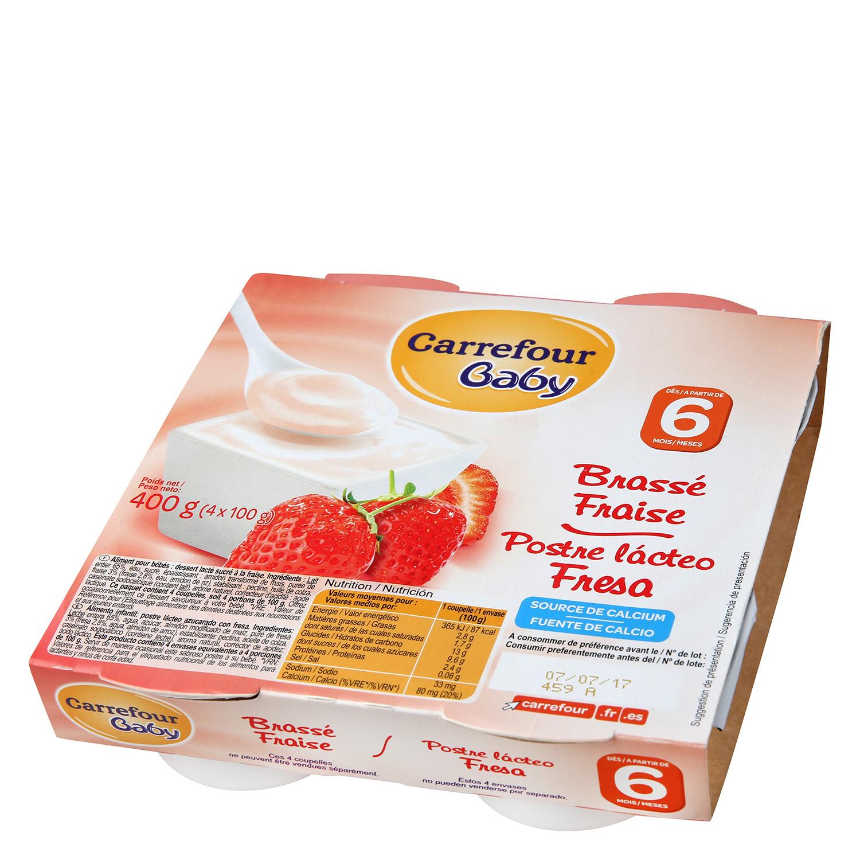 Postre lácteo fresa Carrefour Baby pack de 4 unidades de 100 g.