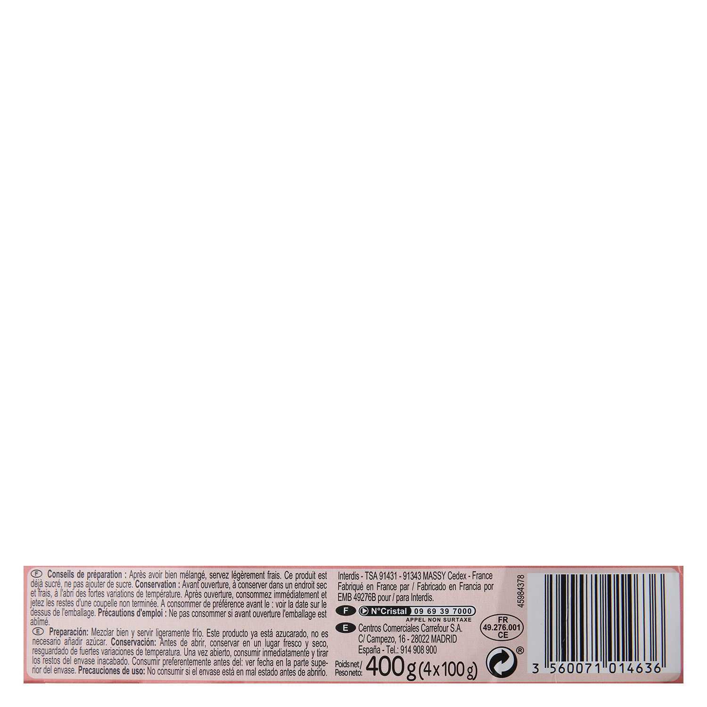 Postre lácteo fresa Carrefour Baby pack de 4 unidades de 100 g. -