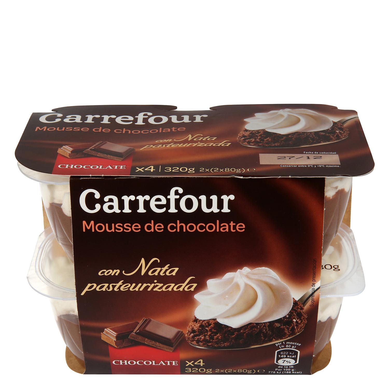 Copa mousse de chocolate con nata pasteurizada Carrefour pack de 4 unidades de 80 g.