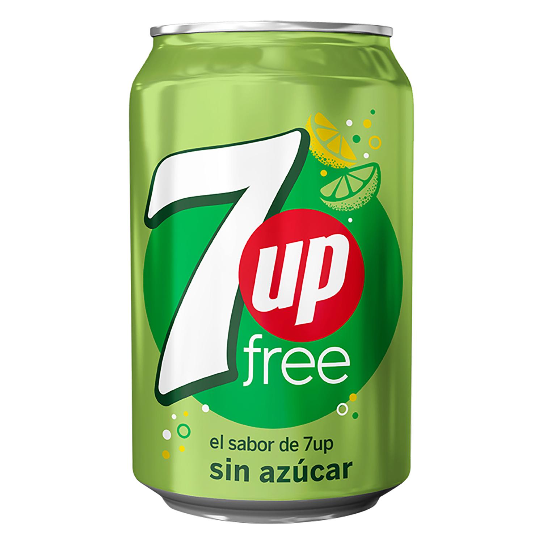 Refresco de lima-limón 7UP con gas zero azúcar lata 33 cl.