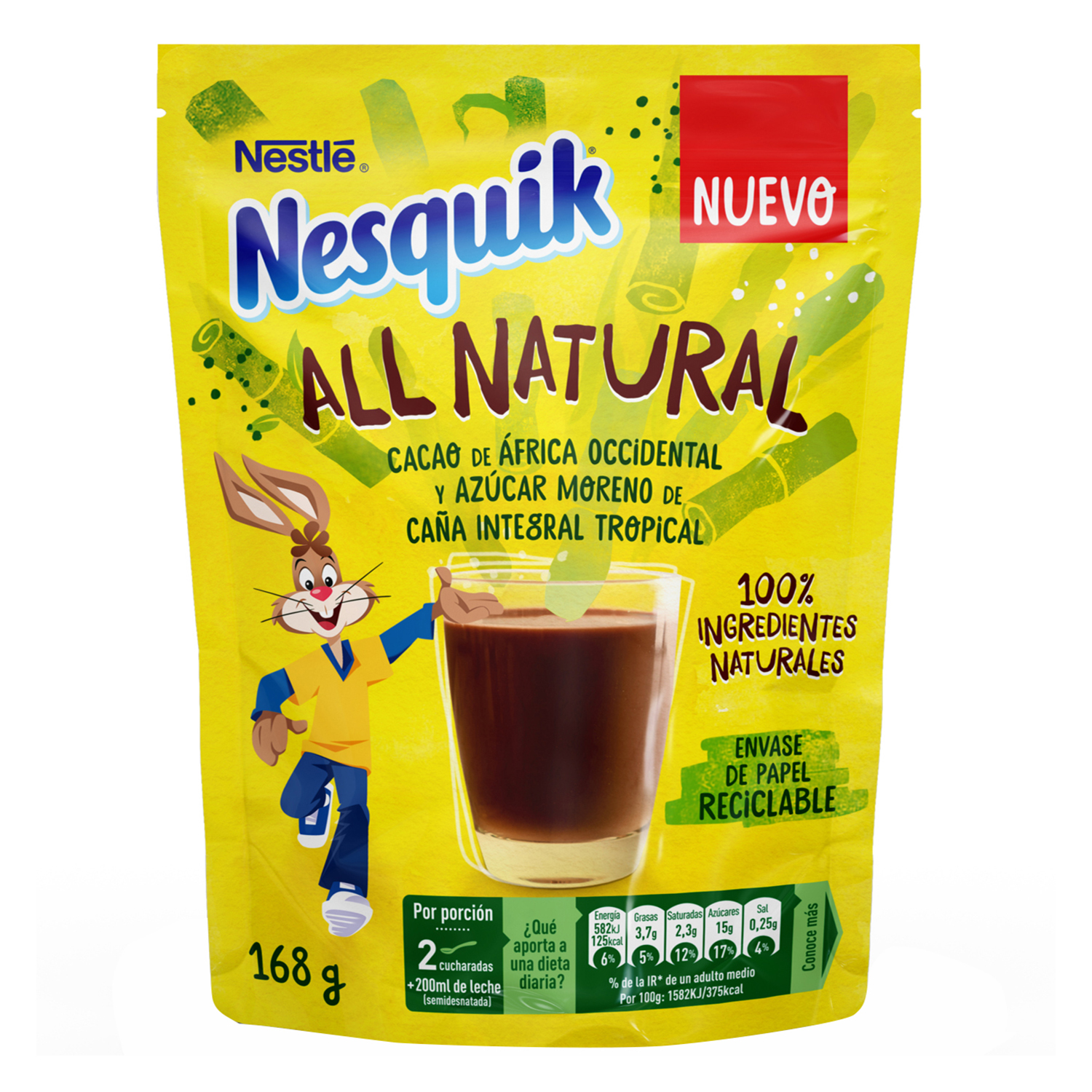 Cacao soluble instantáneo All Natural Nestlé Nesquik 168 g.
