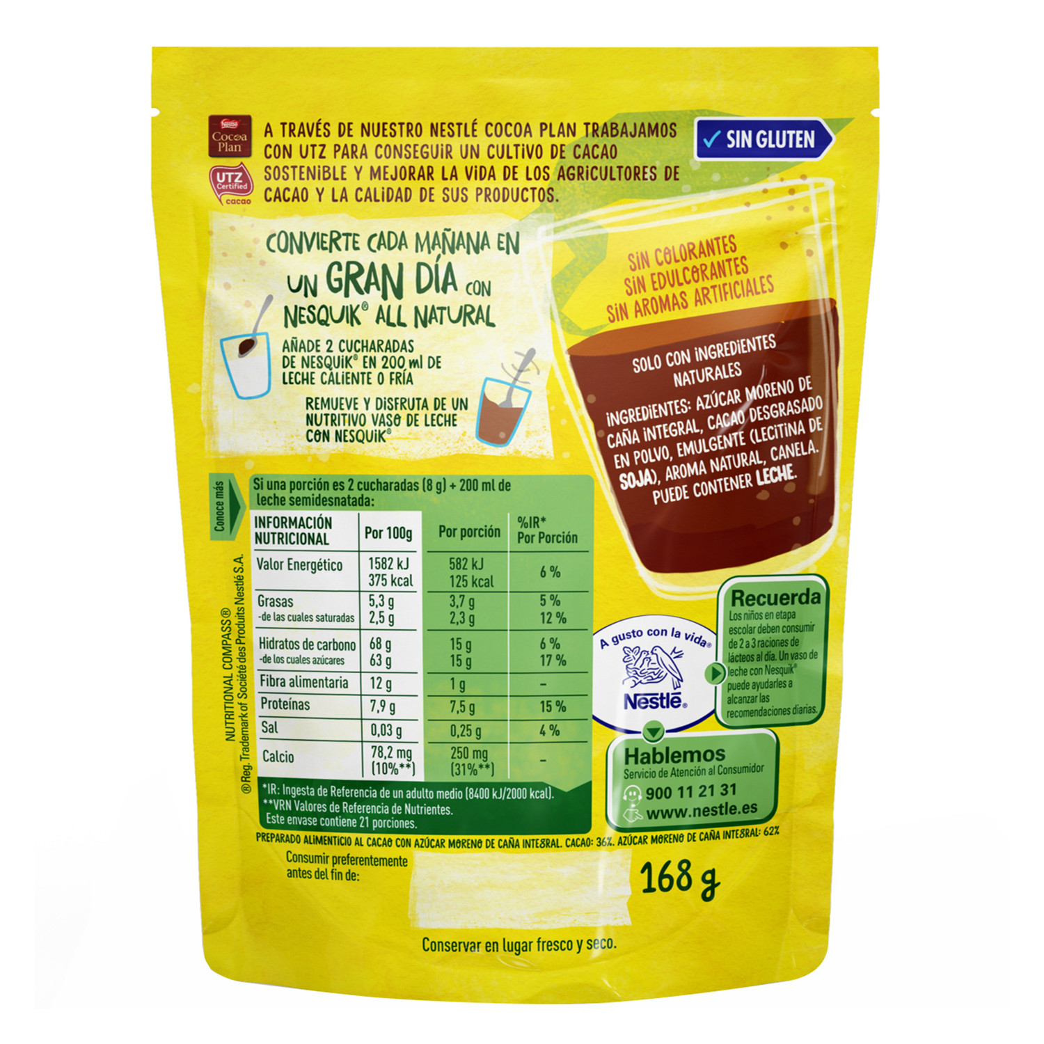Cacao soluble instantáneo All Natural Nestlé Nesquik 168 g. -