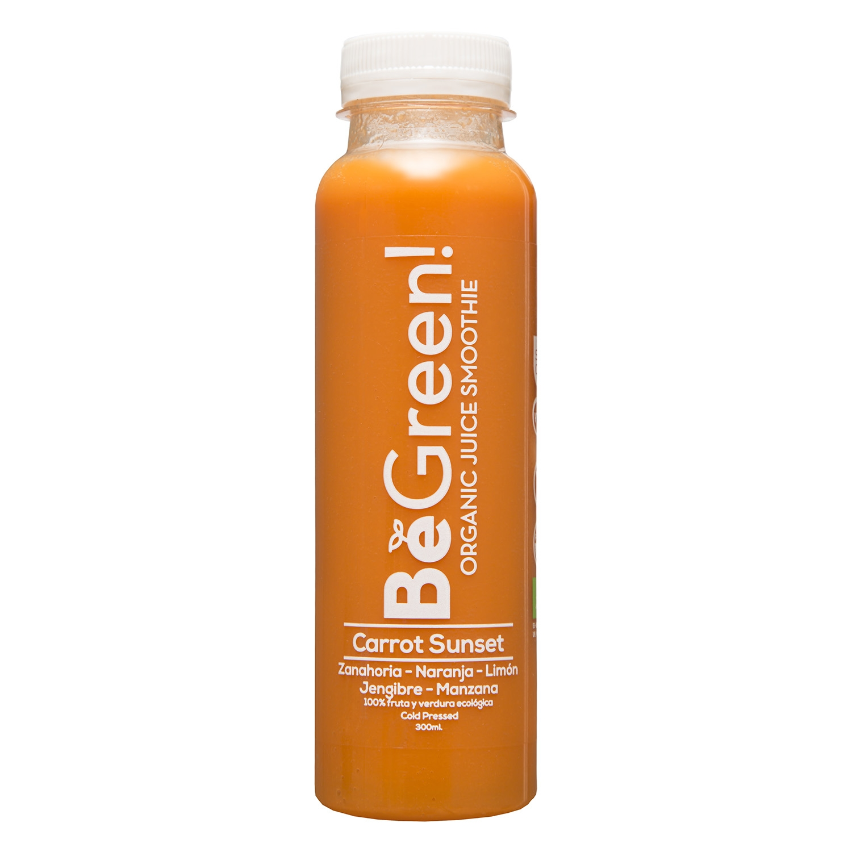 Zumo de naranja, zanahoria, manzana ecológico Be Green botella 30 cl.