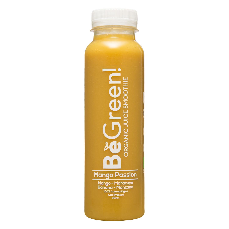 Zumo de mango, maracuyá, banana y manzana ecológico Be Green botella 30 cl.
