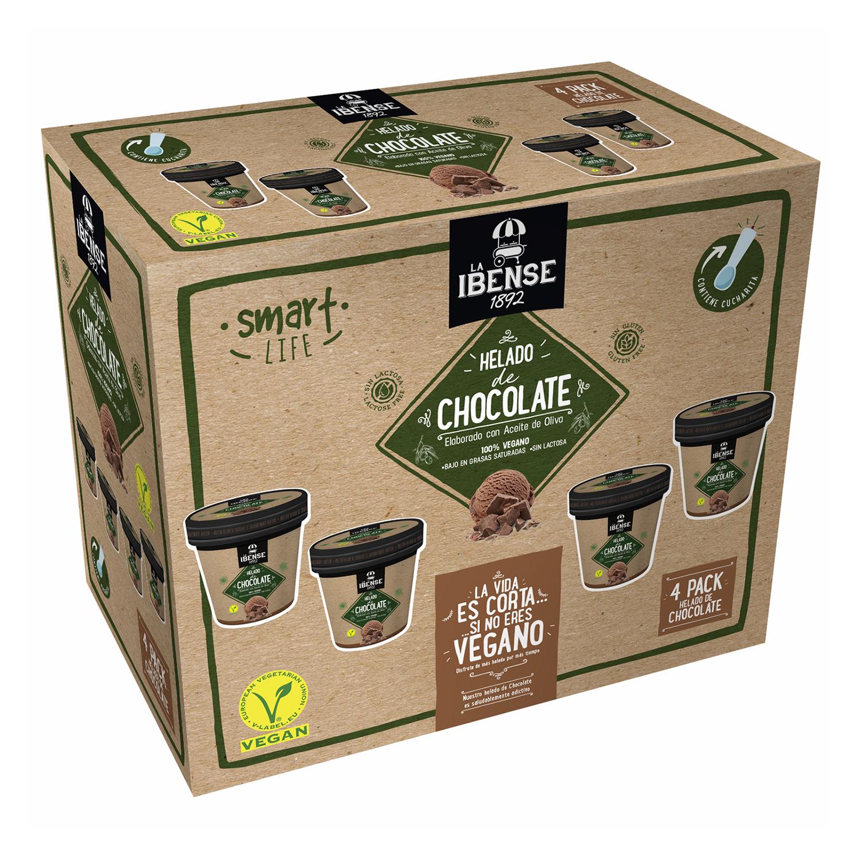 Helado de chocolate elaborado con aceite de oliva La Ibense 1892 sin lactosa 4 unidades de 120 ml.