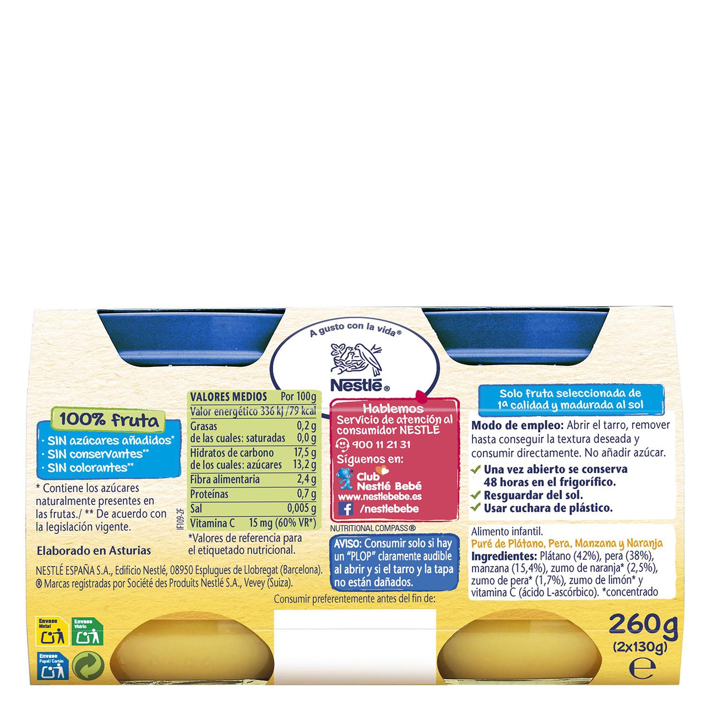Tarrito Duo de pera y plátano Nestlé sin gluten pack de 2 unidades de 130 g. -