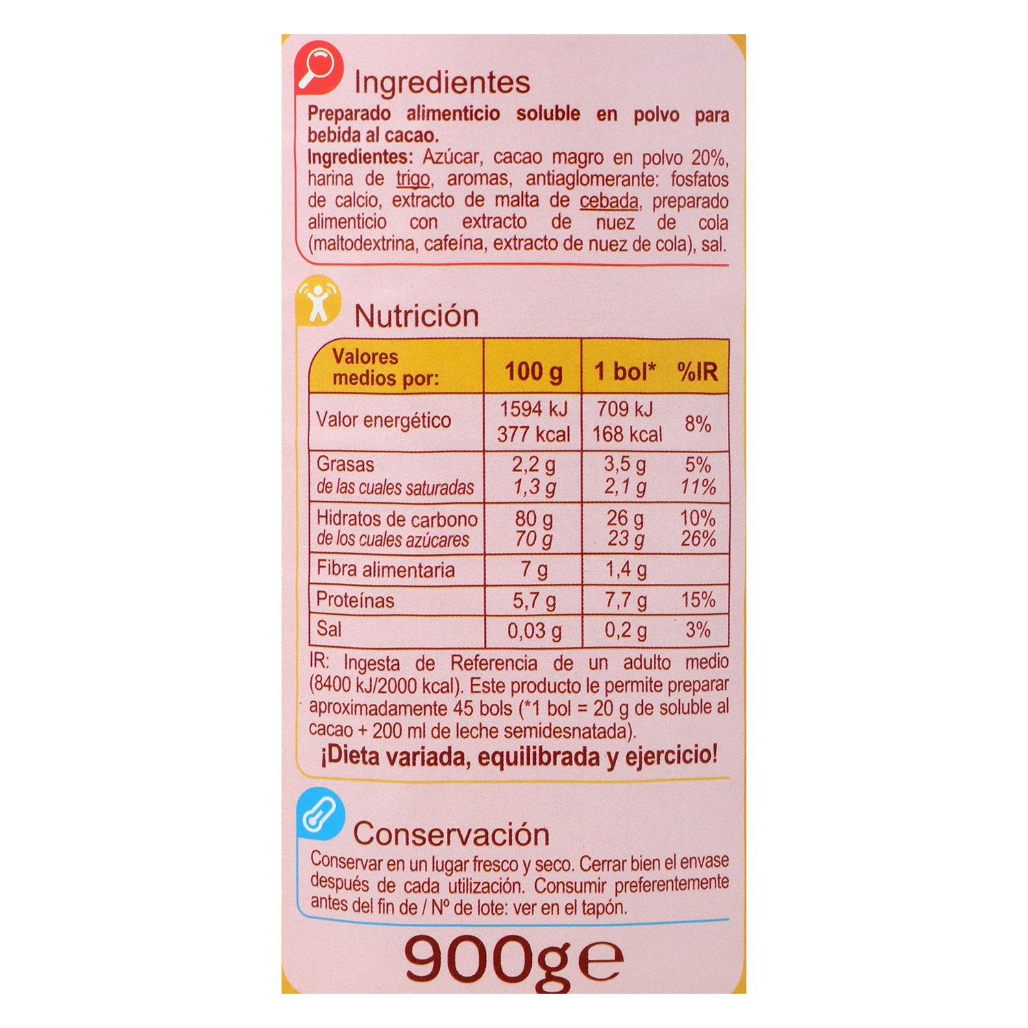 Cacao soluble Carrefour 900 g. -