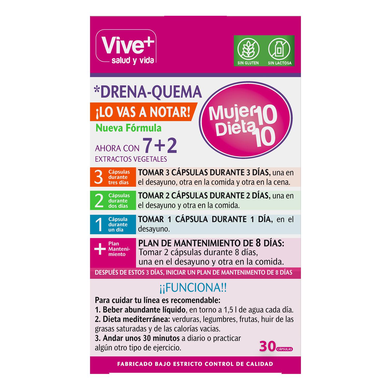 Complemento alimenticio Mujer 10 Dieta 10 Vive+ sin gluten y sin lactosa 30 cápsulas -