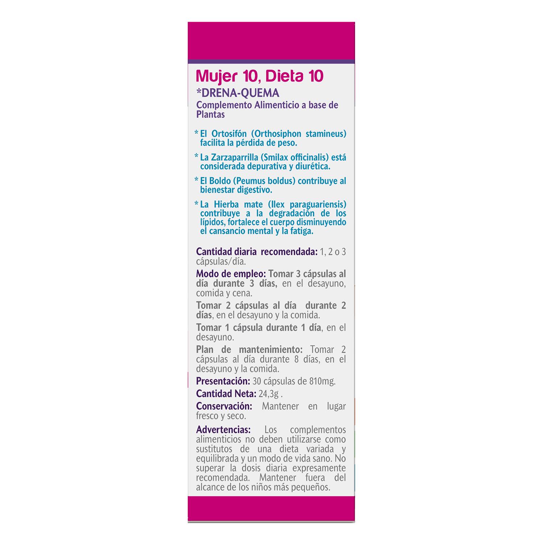Complemento alimenticio Mujer 10 Dieta 10 Vive+ sin gluten y sin lactosa 30 cápsulas - 3