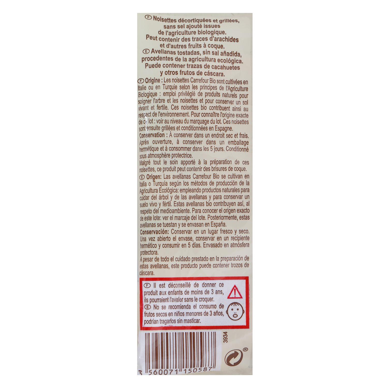 Avellanas tostadas sin sal añadida ecológicas Carrefour Bio 90 g. -