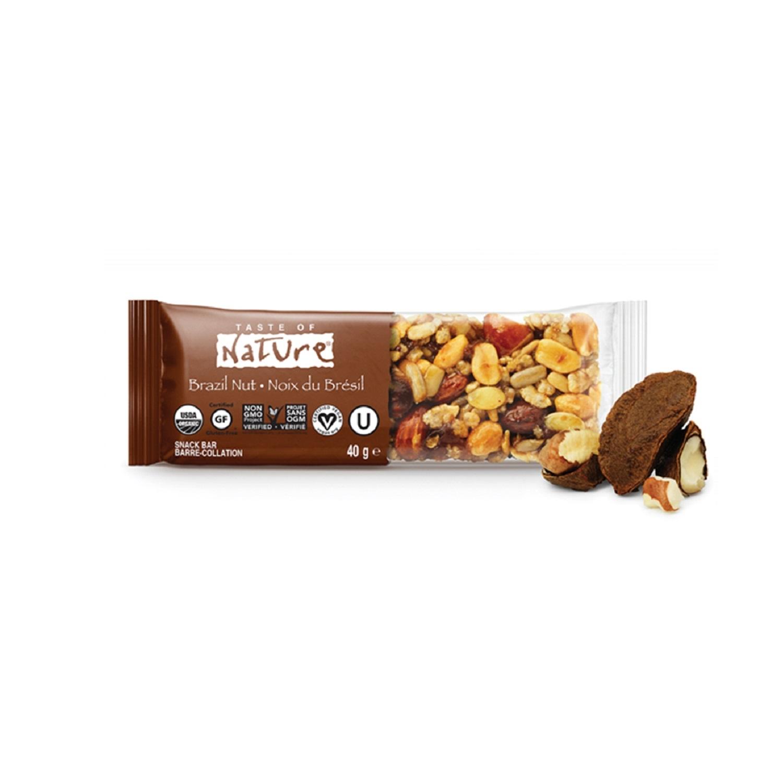 Barrita de frutos secos, semillas, cacahuetes y nueces de Brasil ecológica Taste of Nature 40 g.