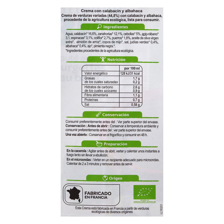 Crema de calabacín y albahaca - 2