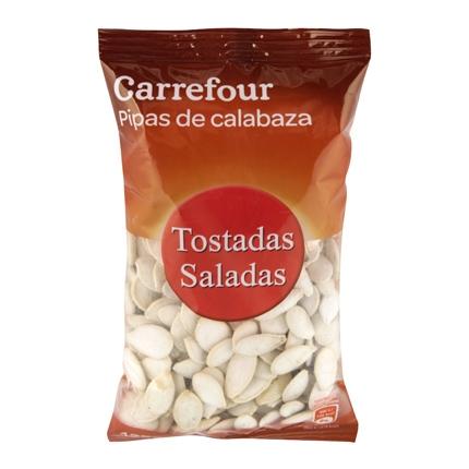 Pipas de calabaza tostadas y saladas Carrefour 125 g.