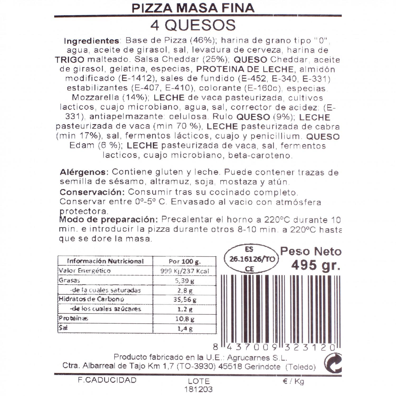 Pizza masa fina cuatro quesos Agrucarnes 495 g. - 3