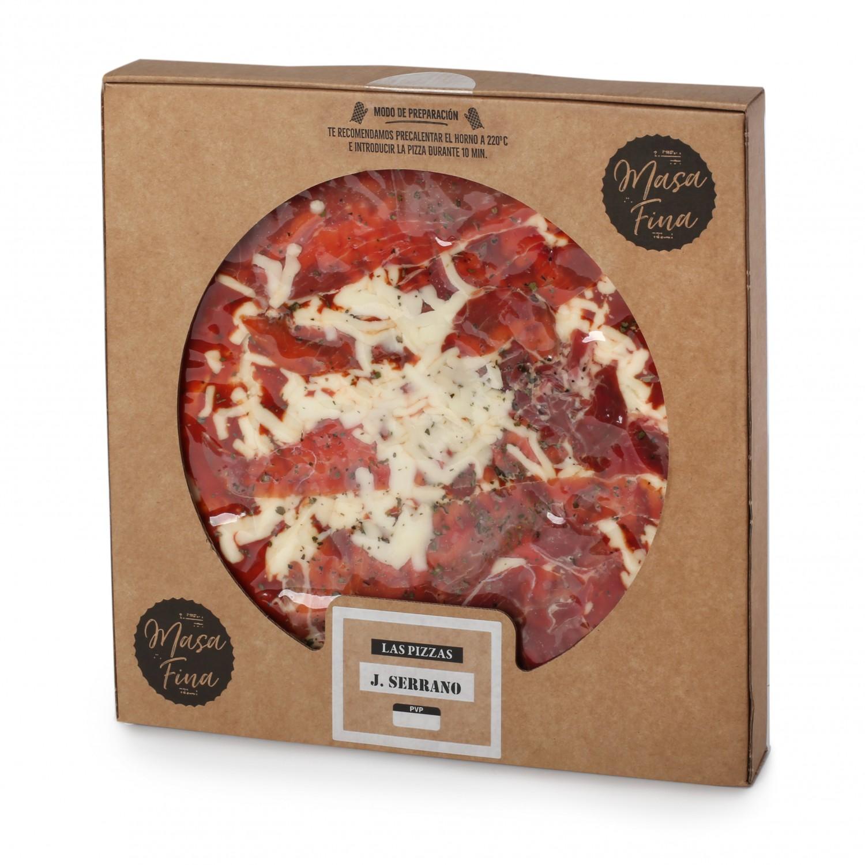 Pizza masa fina jamón serrano Agrucarnes 495 g.