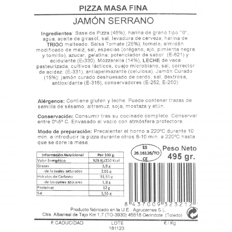 Pizza masa fina jamón serrano Agrucarnes 495 g. - 3