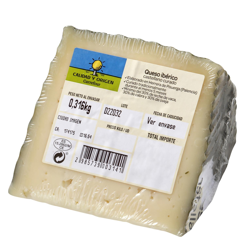 Queso ibérico castellano Carrefour Calidad y Origen cuña 1/8 150 g aprox