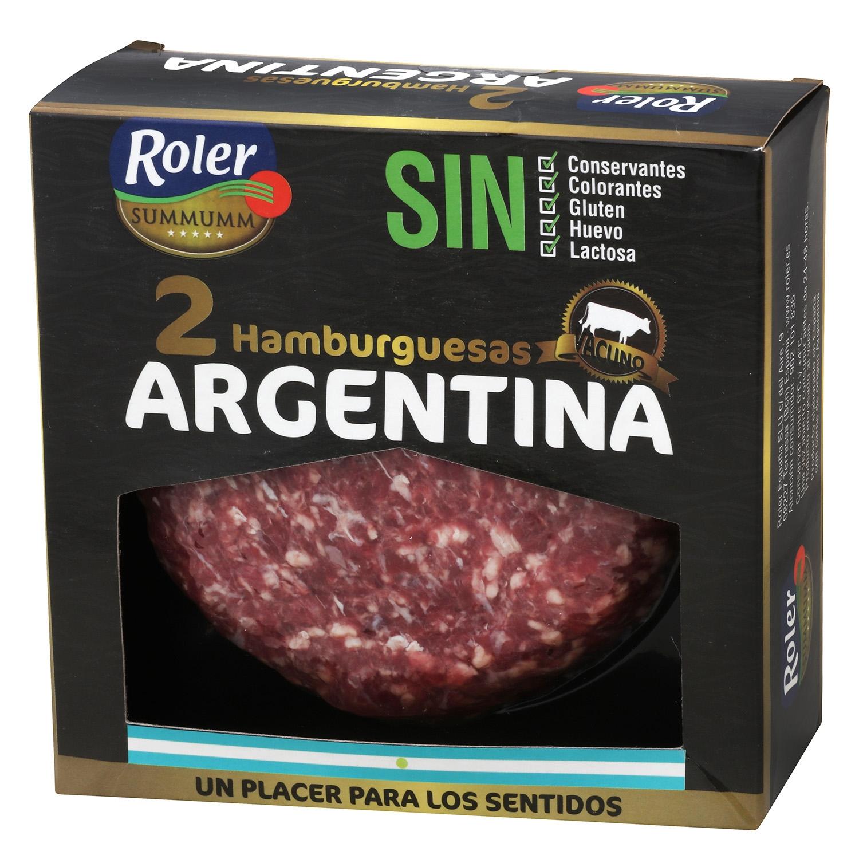 Hamburguesa Argentina de Vacuno Sin Aditivos Roler (2x150g) 300 g - 2