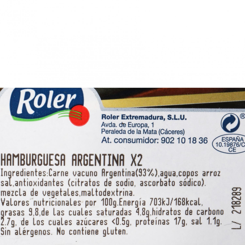 Hamburguesa Argentina de Vacuno Sin Aditivos Roler (2x150g) 300 g - 3