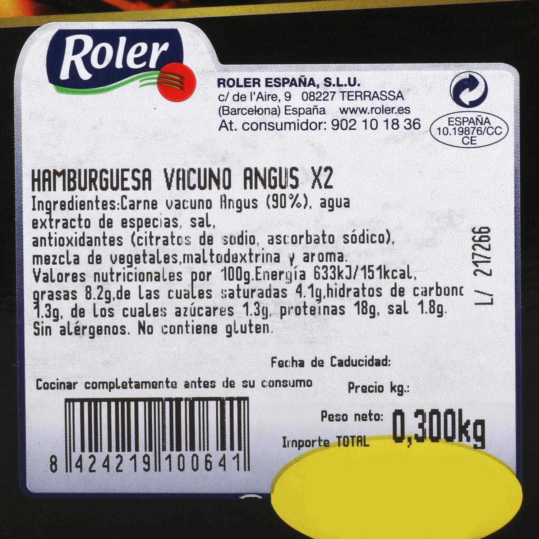 Hamburguesa Ternera Lechal Sin Aditivos Roler (2x150g) 300 g - 3