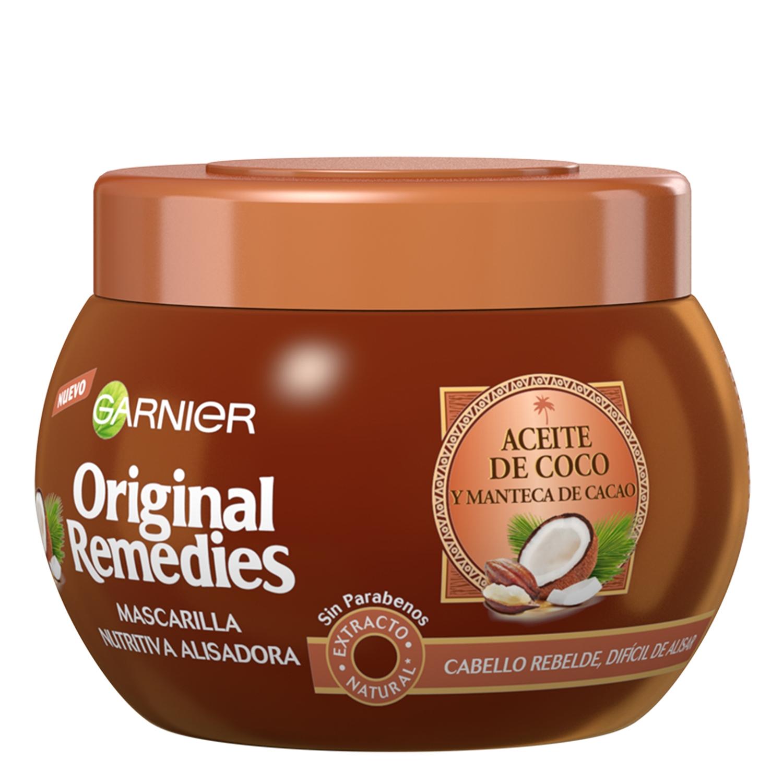 Mascarilla nutritiva alisadora con aceite de coco y manteca de cacao Original Remedies 300 ml.