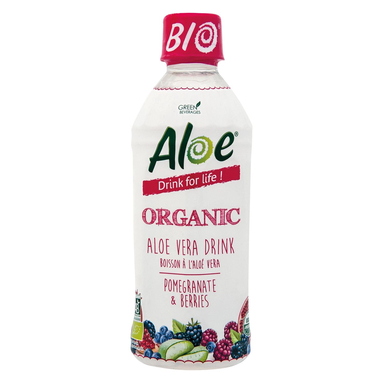 Bebida de aloe vera ecológico Aloe Granadas y Frutas del bosque botella 35 cl.
