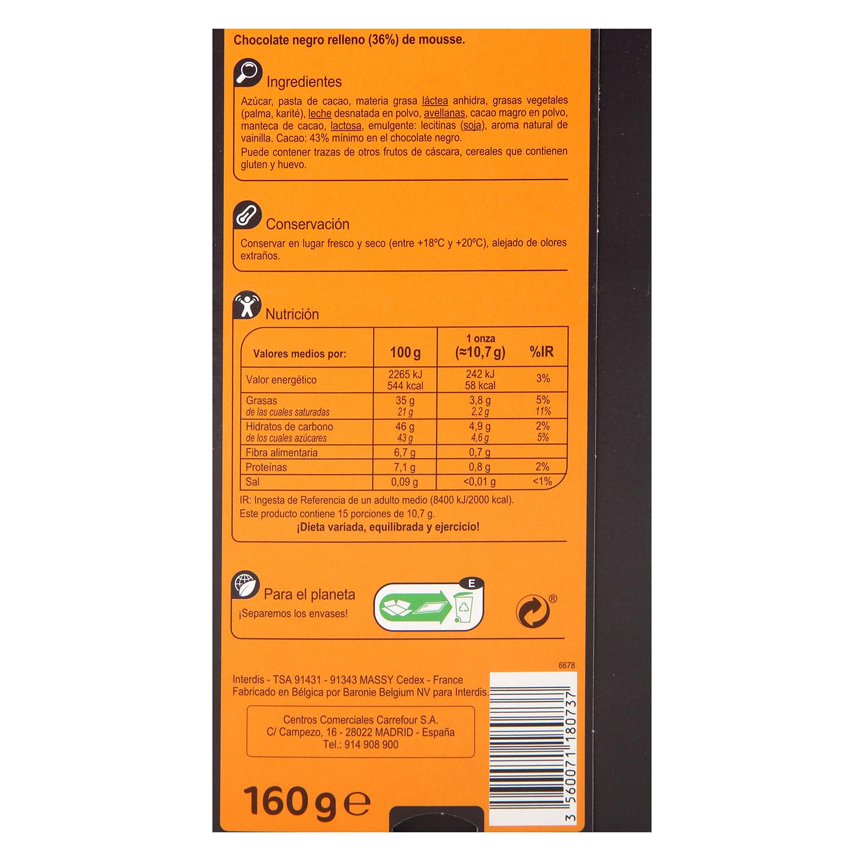 Chocolate negro relleno de mousse Carrefour 160 g. -