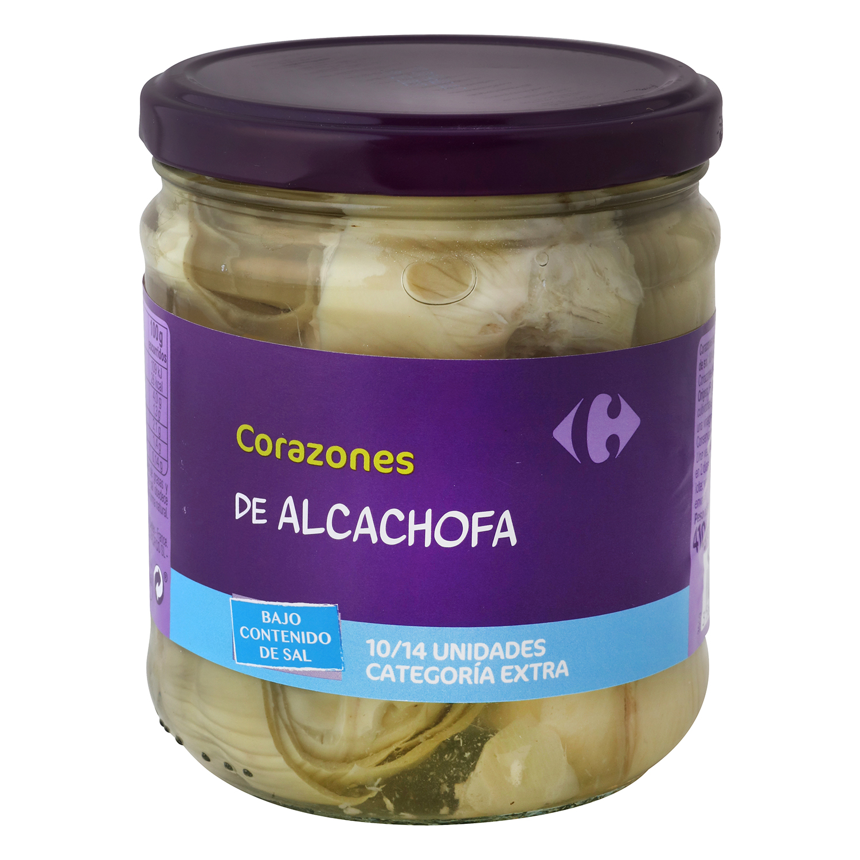 Corazones de alcachofa contenido bajo de sal Carrefour 255 g.