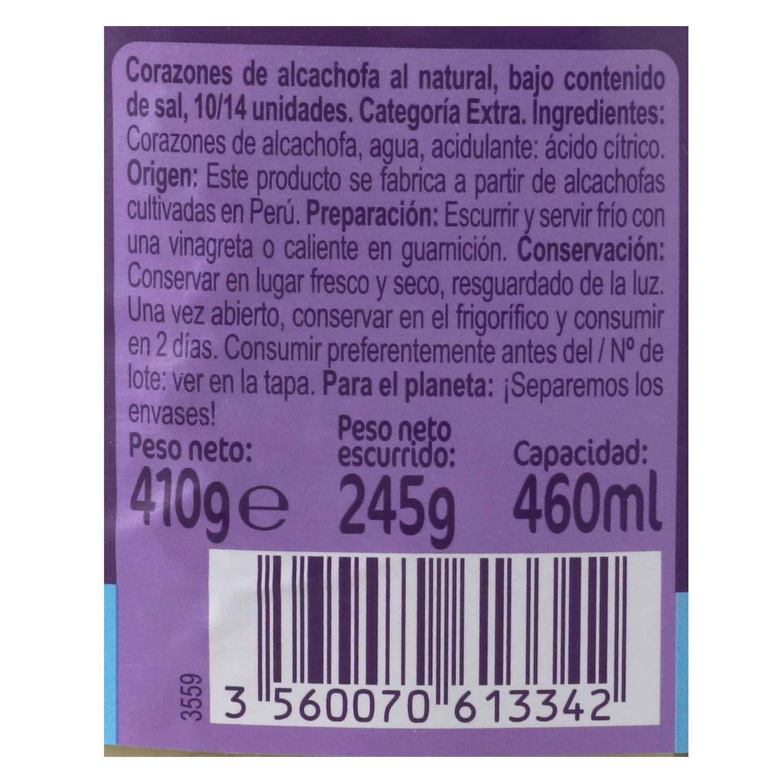 Corazones de alcachofa sin sal -