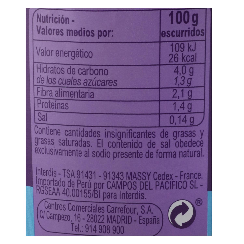 Corazones de alcachofa contenido bajo de sal Carrefour 255 g. - 2
