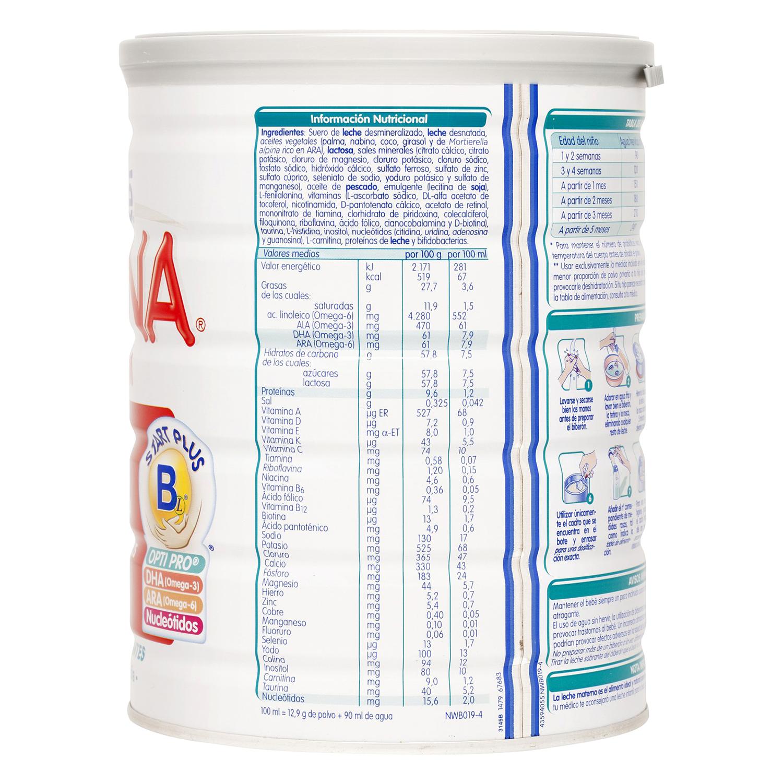 Leche 1 para lactantes en polvo Nestlé Nidina sin gluten 800 g. -