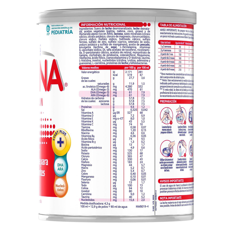 Leche 1 para lactantes en polvo Nestlé Nidina sin gluten 800 g. - 4