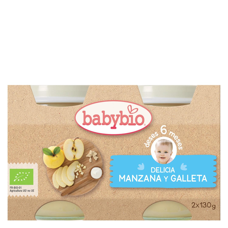 Tarrito Delicia de manzana y galleta ecológico Babybio pack de 2 unidades de 130 g.