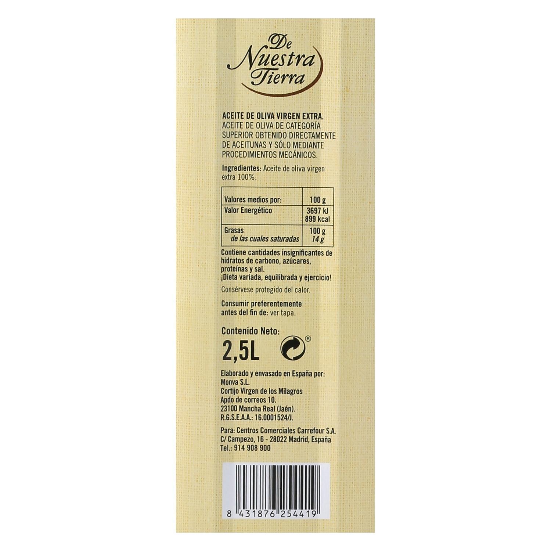 Aceite de oliva virgen extra De Nuestra Tierra D.O Sierra Mágina lata 2,5 l. - 2