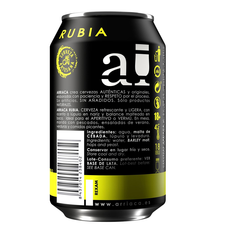 Cerveza artesana Arriaca rubia lata 33 cl. -