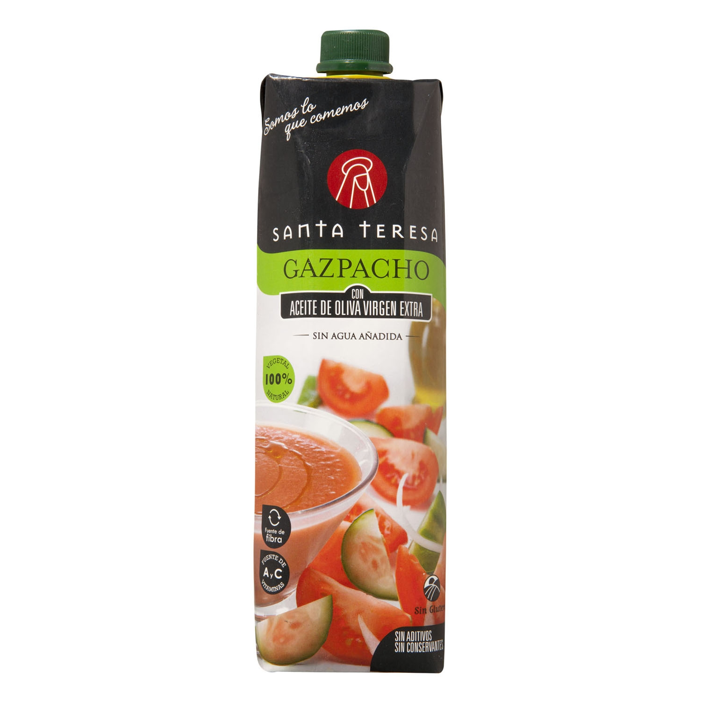 Gazpacho con aceite de oliva virgen extra Santa Teresa sin gluten 1 l.