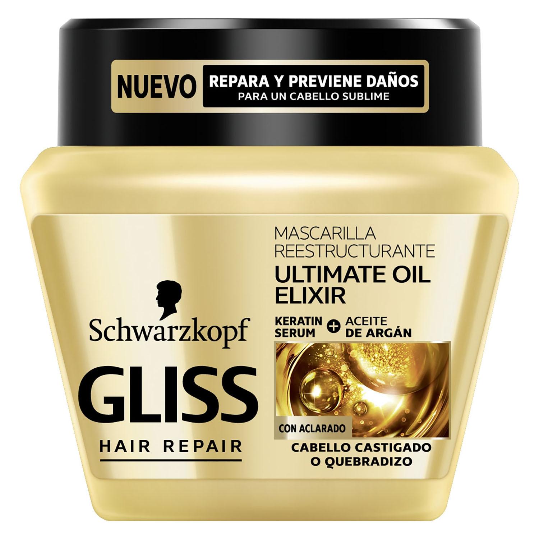 Mascarilla Reestructurante Ultimate oil Elixir para cabello castigado Gliss 300 ml.