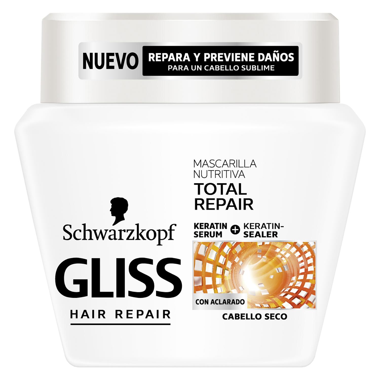 Mascarilla Nutritiva Reparación Total para cabello seco Gliss 300 ml.