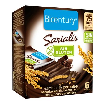 Barrites de cereales con chocolate negro sin azúcares añadidos Bicentury Sarialís sin gluten  6 unidades de 14,5 g.