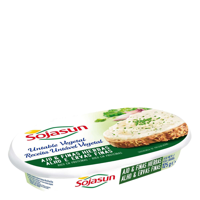 Crema de queso vegetal ajo y finas hierbas Sojasun 125 g.