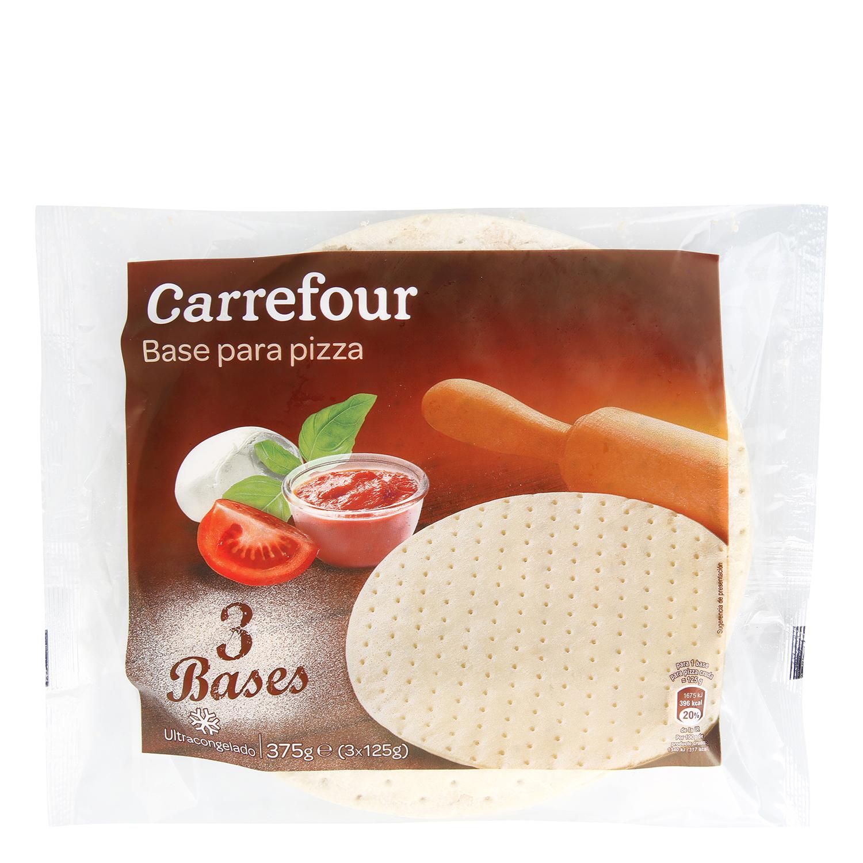 Base de pizza Carrefour pack de 3 unidades de 125 g.