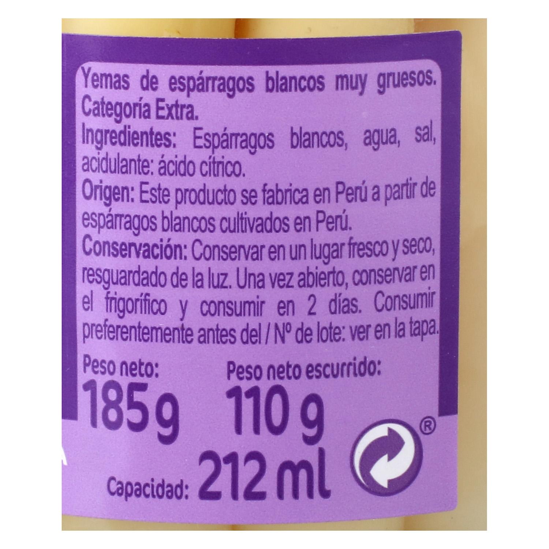 Yemas de esparragos muy gruesas Carrefour 110 g. -